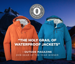 Outdoor Research Interstellar Jacket wins  Outside Magazine 2018 Gear of the Year Award