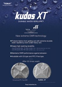 Toray's New Kudos XT Sets New Standards For DWR Durability